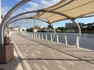 Photo of the Tampa Riverwalk under a canopy outside of Aloft Downtown Tampa