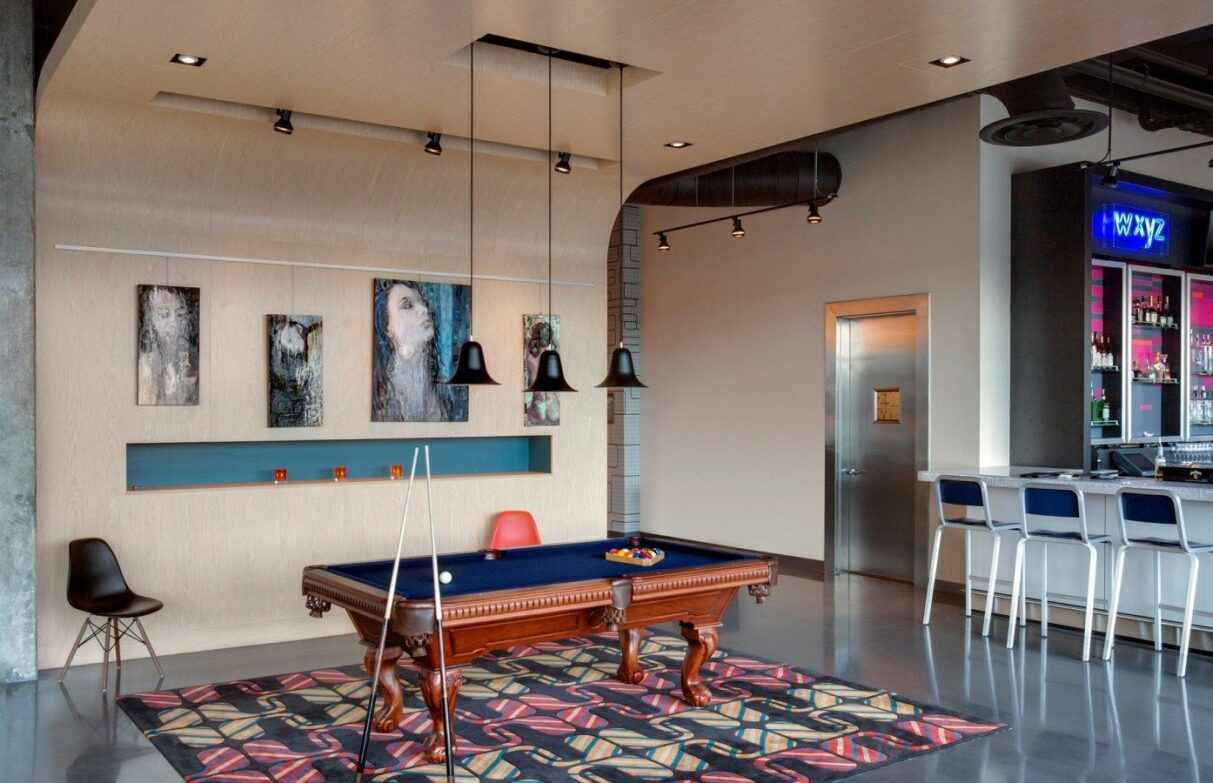 Remix3 Lounge with pool table at Aloft Tampa Downtown